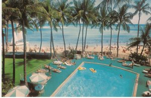 Waikiki Beach Outrigger Hotels Honolulu Hawaii vintage postcard