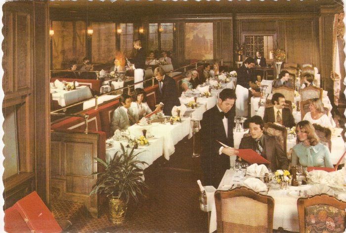 Restaurant La Tour Indianapolis Indiana National Bank Tower color postcard