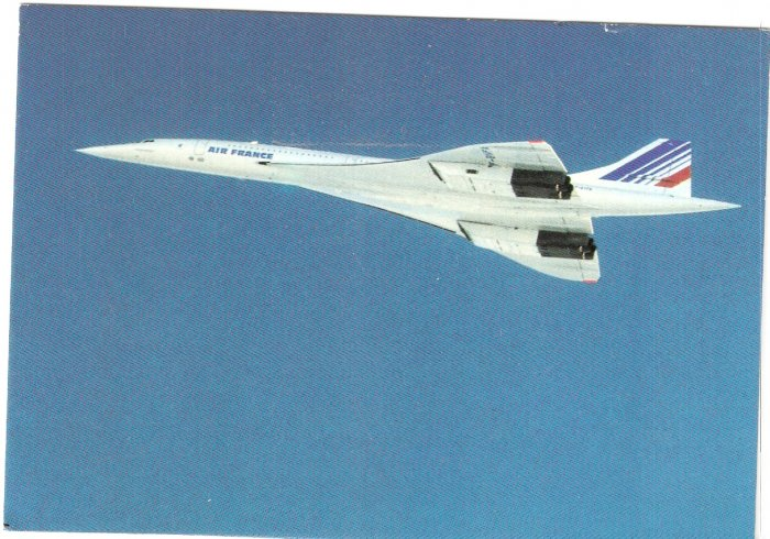 Concorde Air France delta-wing jetliner vintage postcard