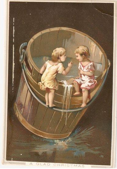 Christmas Card Children Water Bucket Card
