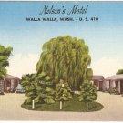 Nelson Motel Walla Walla Washington US 410 vintage postcard