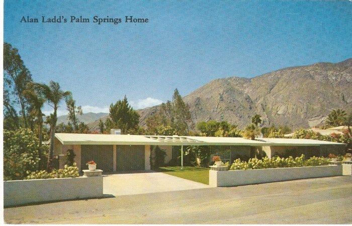 Alan Ladd Palm Springs Home California San Jacinto Mts vintage postcard