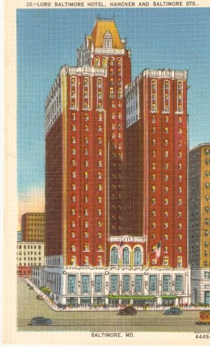 Lord baltimore hotel hanover st maryland md vintage postcard for Lord of baltimore hotel