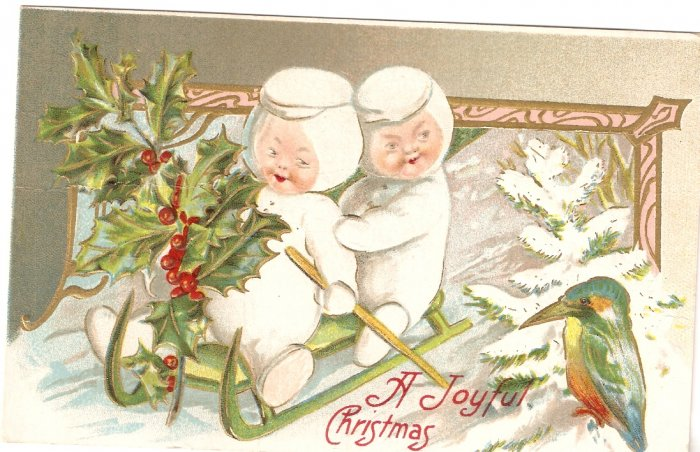 A Joyful Christmas Card 1910 sled baby bird vintage postcard