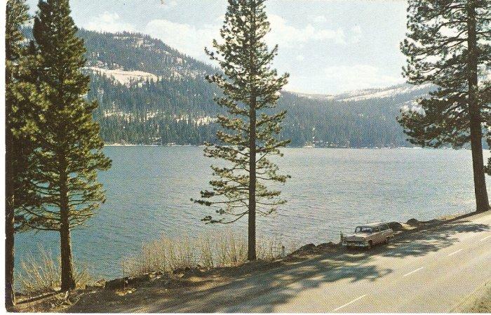 Donner Lake California US Hwy 40 Sierras vintage postcard