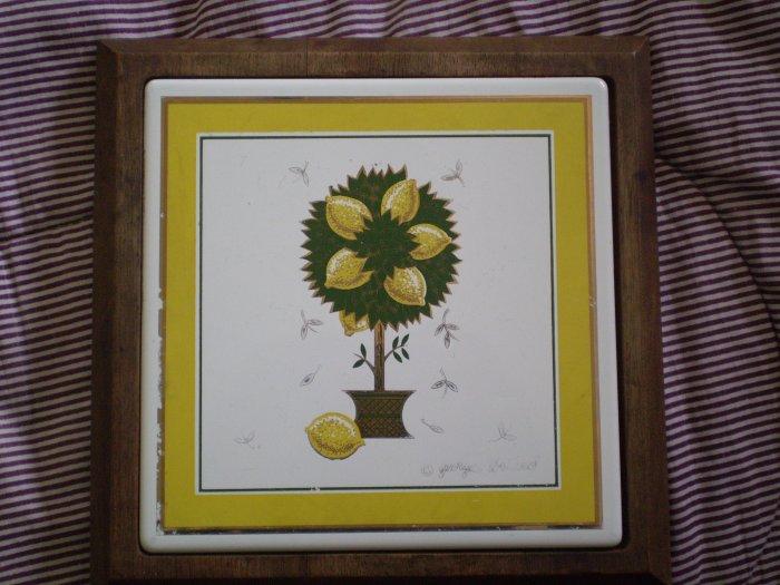 Vintage Georges Briard Trivet Woodland Wood Tile Lemon Tree