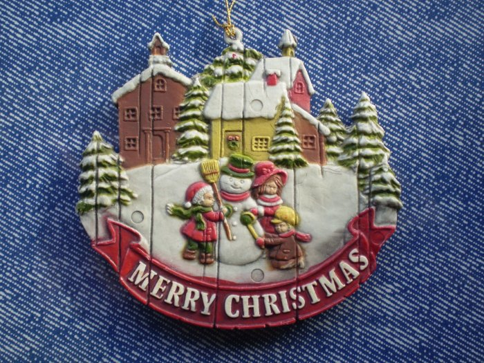 Merry Christmas Ornament Winter Scene Snowman Children