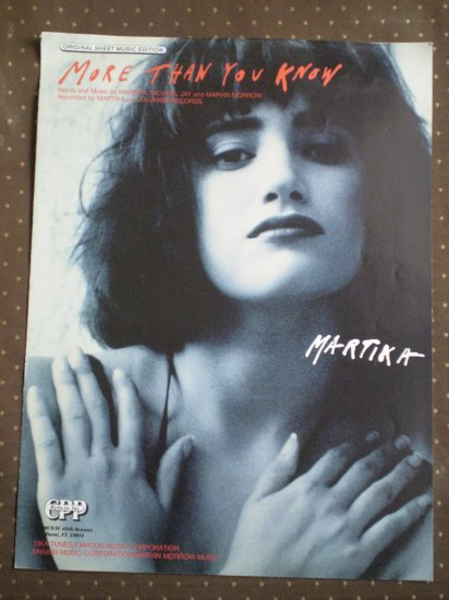 More Than You Know Martika Jay Morrow Sheet Music 1988