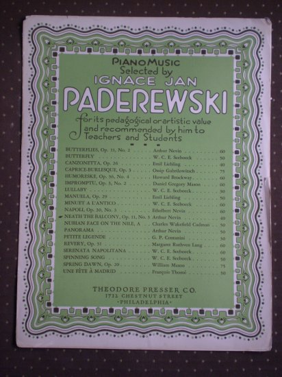 Neath The Balcony Op 11 No 3 Arthur Nevin Paderewski Sheet Music