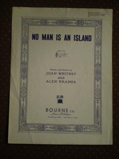 No Man Is An Island Joan Whitney Alex Kramer 1950 sheet music