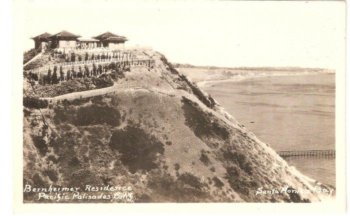 Bernheimer Residence Pacific Palisades Santa Monica Bay CA vintage postcard