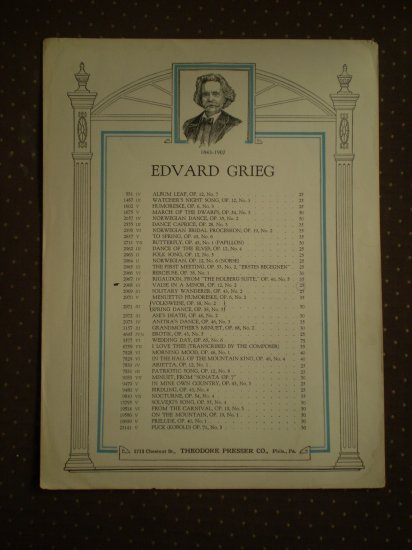 Edvard Grieg Valse in A Minor Op 12 #12 Sheet Music 2968 Presser