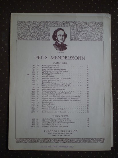 Felix Mendelssohn Wedding March Piano Solo Sheet Music