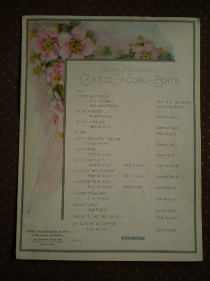 Carrie Jacobs-Bond Just A-Wearyin' For You 1901 Sheet Music