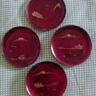 "Vintage Coasters Wood Lacquerware Maroon 3"" Lot 4 Plate"