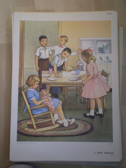 A New Friend Providence Lithograph 1960 Handsaker print