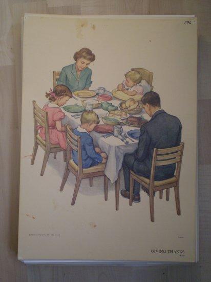 Giving Thanks Providence Lithograph 1958 Handsaker Print