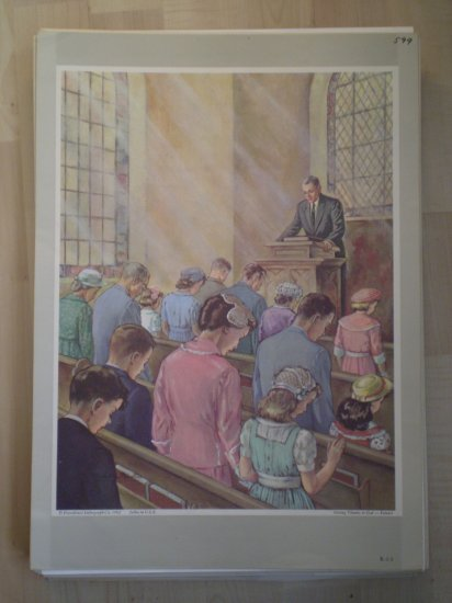 Giving Thanks To God Providence Lithograph 1962 Pointer Print