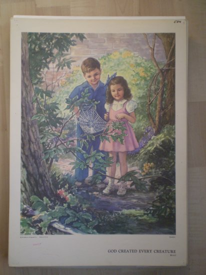 God Created Every Creature Providence Lithograph Vintage Handsaker