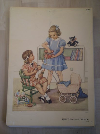 Happy Times At Church Providence Lithograph 1957 Handsaker print
