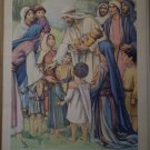 Jesus Cared About Children Providence Lithograph Vintage Barker
