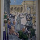 Jesus Cleansing The Temple Providence Lithograph Vintage Hole