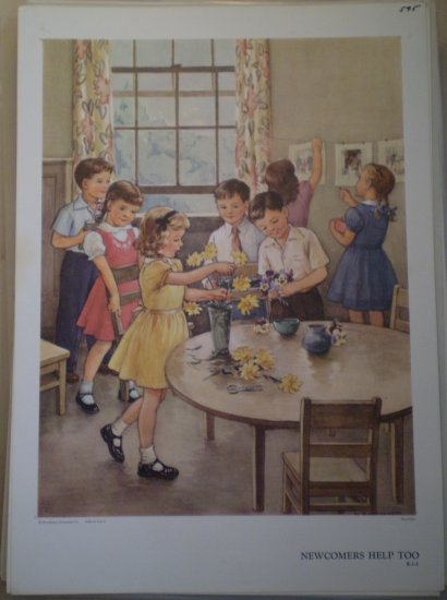 Newcomers Help Too Providence Lithograph Vintage Handsaker
