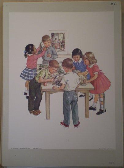 Our Friends Providence Lithograph 1965 Handsaker Print Vintage