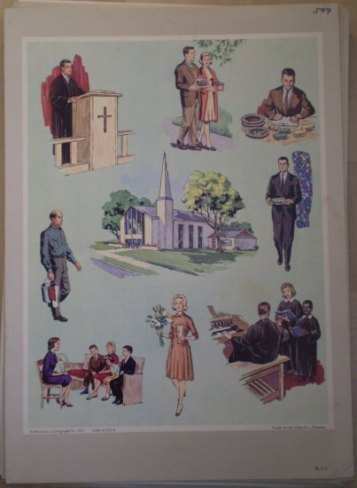 People in Our Church Providence Lithograph 1965 Timmins Print