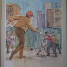 Playing Ball Providence Lithograph 1965 Timmins Print