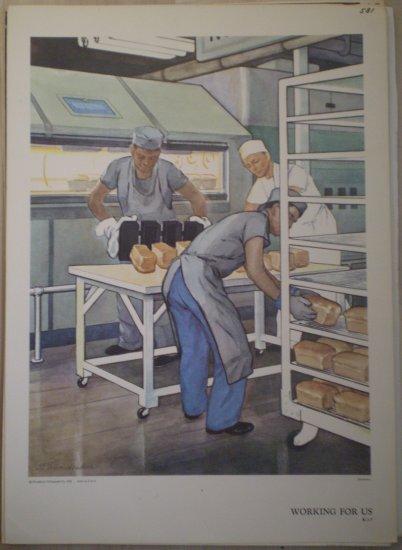 Working For Us Providence Lithograph Vintage Handsaker Print