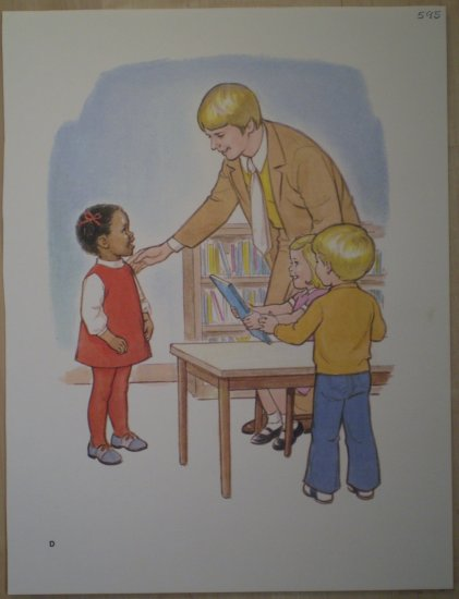 Children Sharing A Book Vintage Litho Print Poster