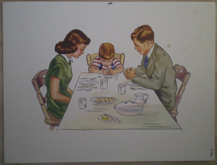Family Saying Grace Prayer Meal Vintage Litho Print Poster