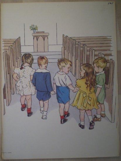 Children Walking Down Church Aisle Vintage Jenkins Litho Print Poster