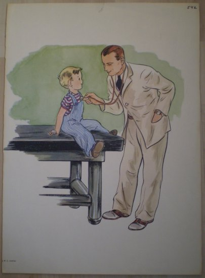 Child With Doctor Boy Examination Vintage Jenkins Litho Print Poster