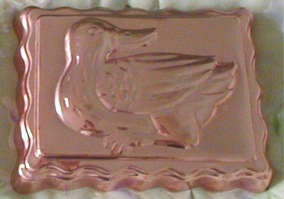 "Vintage Copper Duck Bird Mold Rectangle 6.5"" x 8.5"""