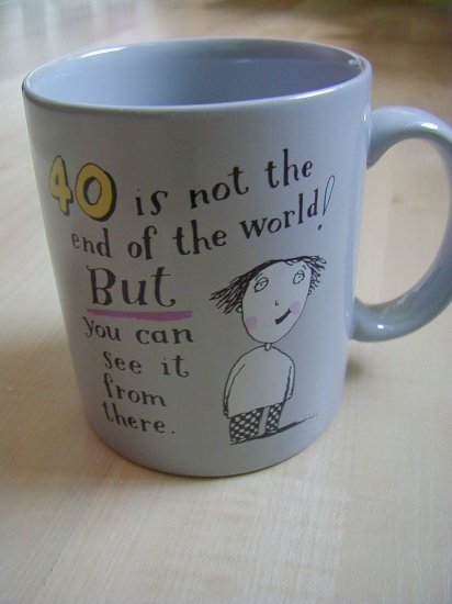 Hallmark Mug Shoebox 40 is not the end of the world 1988
