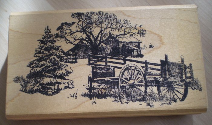 Mounted Rubber Stamp Farmhouse Winter Scene Vintage W C Ward