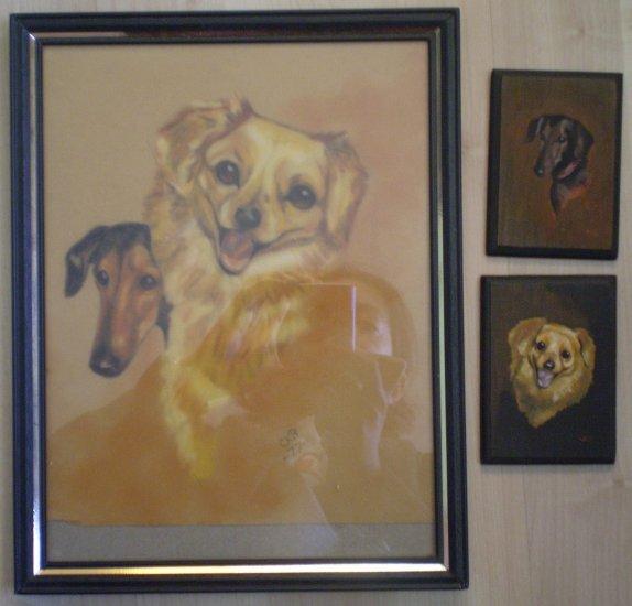 3 Dog Portraits Greyhound Spaniel CKB 1977 acrylic