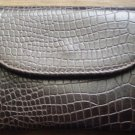 Fino Leatherware Mock Croc Coin Purse with Keychain Brown