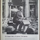 Vintage Qantas V Jets Woman On Motorcycle Scooter 1964 Trevi Fountain