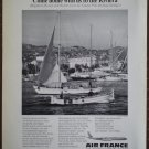 Vintage Ad Air France Harbor Cannes Riviera 1964