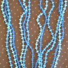 Vintage Blue Plastic 3 Strand Bead Necklace 49in Flapper