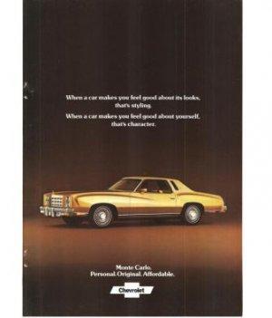 Chevrolet Monte Carlo 1977 Vintage Ad Car Automobile