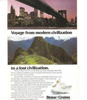 Sitmar Cruises Fairwind New York Lima 1977 Vintage Ad