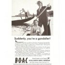 BOAC Gondolier British Overseas Airways Airplane Vintage Ad 1961