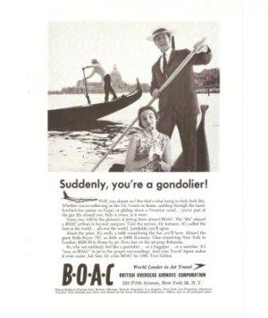 BOAC Gondolier British Overseas Airways Airplane Vintage Ad 1961