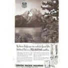 Union Pacific Railroad Grand Teton Yellowstone Park Vintage Ad 1952