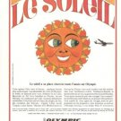 Le Soleil Olympic Airways 1968 Vintage Ad French