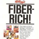 Kellogg's Fiber Rich Cereal Vintage Ad 1983 Most Bran Buds